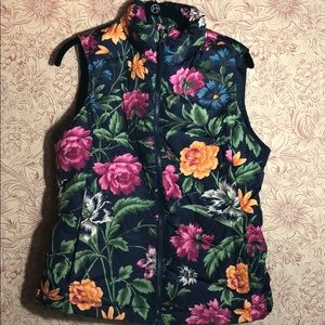 Lands End Floral down vest Small like new puffer